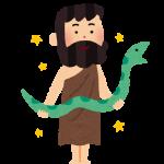 ギリシャ神話の医者アスクレーピオスが蛇を持っている図
