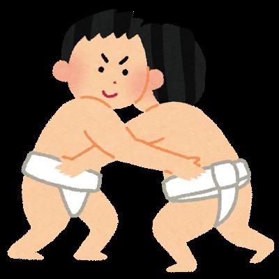 相撲をとる2人の男性